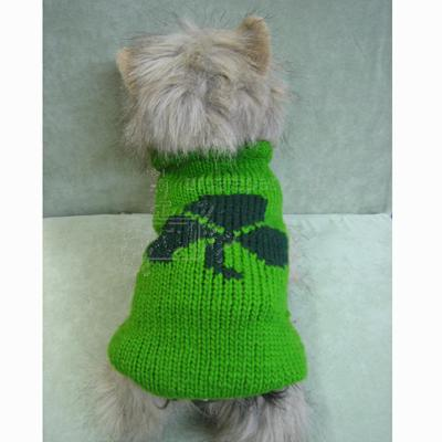 Handmade Dog Sweater Wool Shamrock XLarge