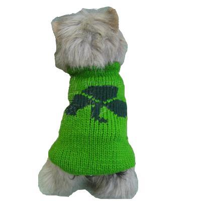 Handmade Dog Sweater Wool Shamrock Small