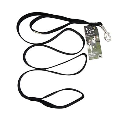 Nylon Double Handle Leash 1-inch x 6-foot Black
