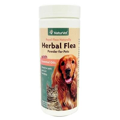 NaturVet Herbal Flea Powder 4oz for Dogs and Cats