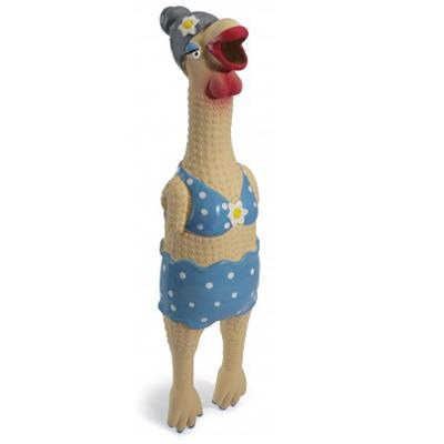 Rubber Chicken Grandma Hippie Chick Small Dog Toy
