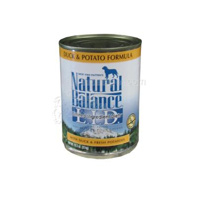 Natural Balance Duck and Potato Dog Food Can each