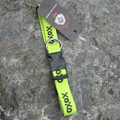 Max Pawfection Adjustable Printed XOXO Collar Lime Lg