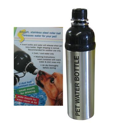 Pet Water Bottle Silver 24oz
