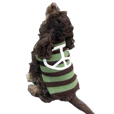 Handmade Dog Sweater Wool Peace Sign Large