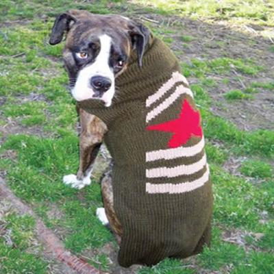 Handmade Dog Sweater Wool Army XXSmall