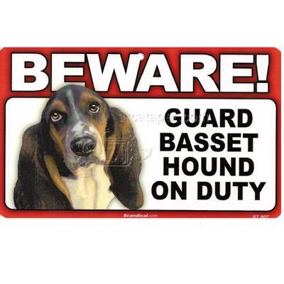 Sign Guard Basset Hound On Duty 8 x 4.75 inch Laminated