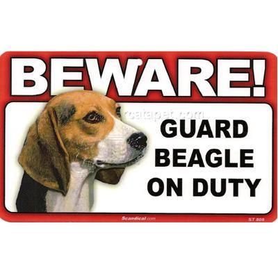 Sign Guard Beagle On Duty 8 x 4.75 inch Laminated Cardstock