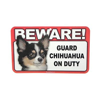 Sign Guard Chihuahua Long Hair On Duty 8 x 4.75 inch Laminat