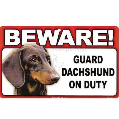Sign Guard Dachshund On Duty 8 x 4.75 inch Laminated
