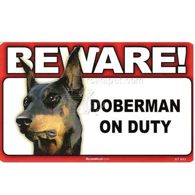 Sign Guard Doberman On Duty 8 x 4.75 inch Laminated