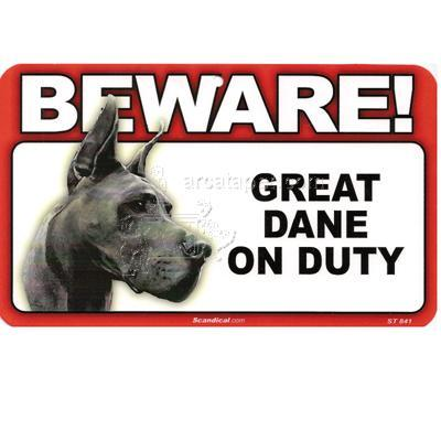 Sign Guard Great Dane On Duty 8 x 4.75 inch Laminated