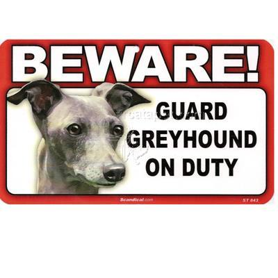 Sign Guard Greyhound On Duty 8 x 4.75 inch Laminated