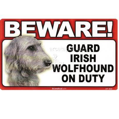 Sign Guard Irish Wolfhound On Duty 8 x 4.75 inch Laminated