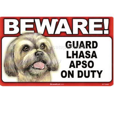 Sign Guard Lhasa Apso On Duty 8 x 4.75 inch Laminated