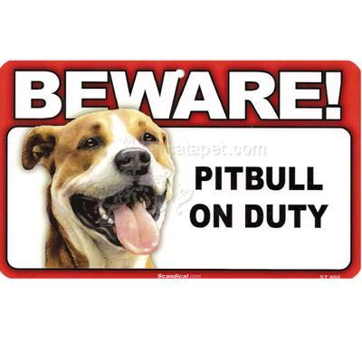 Sign Guard Pitbull On Duty 8 x 4.75 inch Laminated
