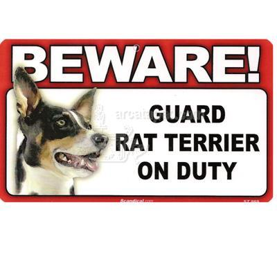 Sign Guard Rat Terrier On Duty 8 x 4.75 inch Laminated