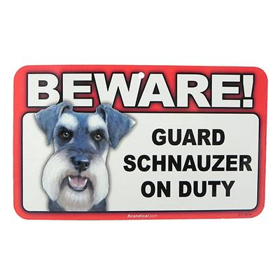 Sign Guard Schnuazer On Duty 8 x 4.75 inch Laminated