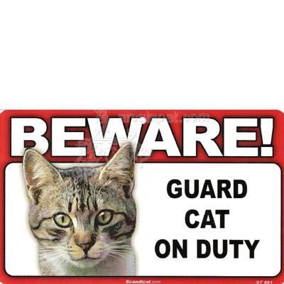 Sign Guard Cat Tabby On Duty 8 x 4.75 inch Laminated