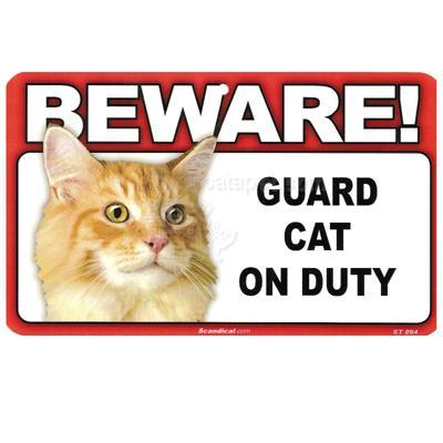 Sign Guard Cat Orange On Duty 8 x 4.75 inch Laminated