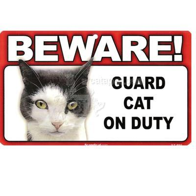 Sign Guard Cat Paint On Duty 8 x 4.75 inch Laminated