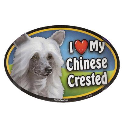 Dog Breed Image Magnet Oval Chinese Crested