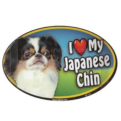 Dog Breed Image Magnet Oval Japanese Chin