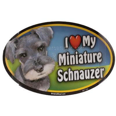 Dog Breed Image Magnet Oval Minature Schnauzer