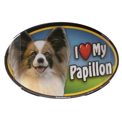 Dog Breed Image Magnet Oval Papillon