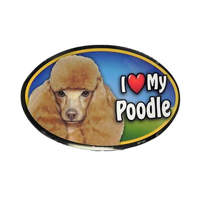 Dog Breed Image Magnet Oval Poodle Toy