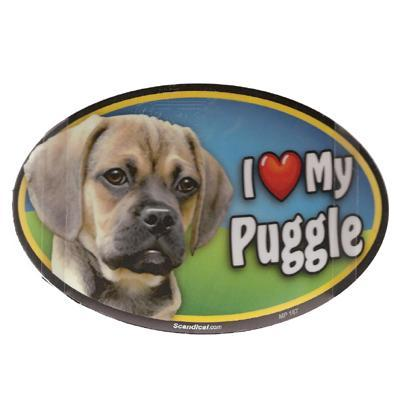 Dog Breed Image Magnet Oval Puggle