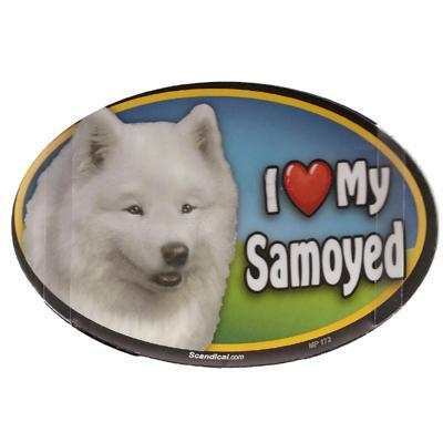 Dog Breed Image Magnet Oval Samoyed
