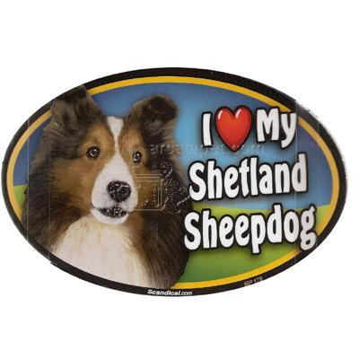 Dog Breed Image Magnet Oval Sheltand Sheepdog