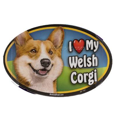 Dog Breed Image Magnet Oval Welsh Corgi