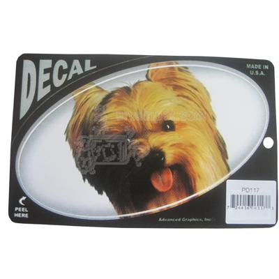 Oval Vinyl Dog Decal Yorkie Picture