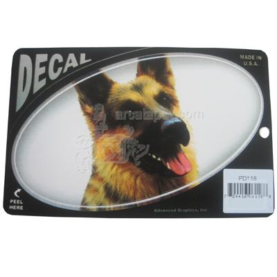 Oval Vinyl Dog Decal German Shepherd Picture