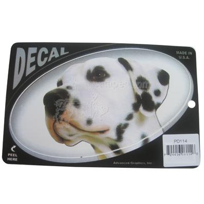 Oval Vinyl Dog Decal Dalmatian Picture