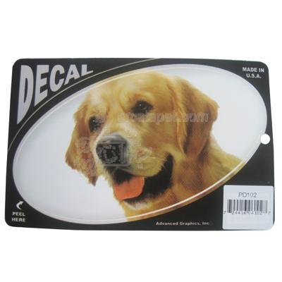 Oval Vinyl Dog Decal Golden Retriever Picture