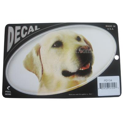 Oval Vinyl Dog Decal Yellow Lab Picture