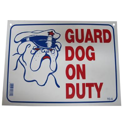 Sign Plastic Guard Dog on Duty 9 x 12 inch