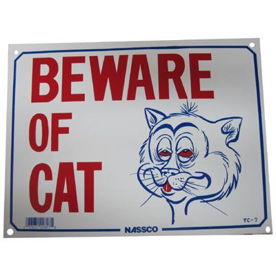 Sign Plastic Beware of Cat 9 x 12 inch