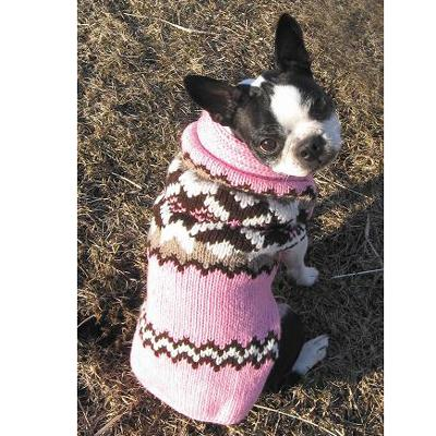 Handmade Dog Sweater Wool Aspen Pink Large