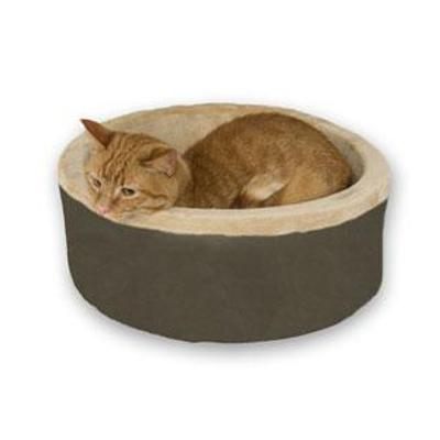 Thermo Kitty Bed Mocha Heated Cat Bed 20-inch
