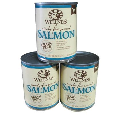 Wellness 95% Salmon Recipe Dog Food 13oz Case