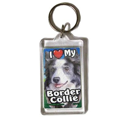 Plastic Keyring Border Collie