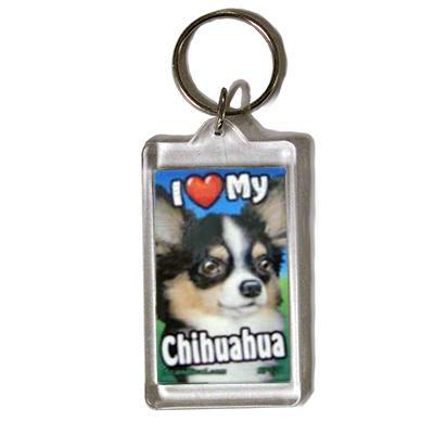 Plastic Keyring Chihuahua Long Haired