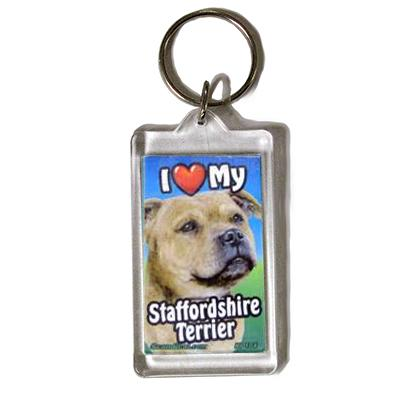 Plastic Keyring Staffordshire Terrier
