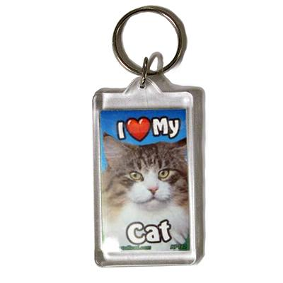 Plastic Keyring Cat Norwegian Mix