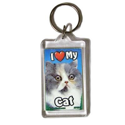 Plastic Keyring Cat Persian Mix
