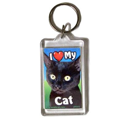 Plastic Keyring Cat Black